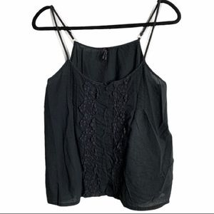 Lapis M black tank ruffle crochet button